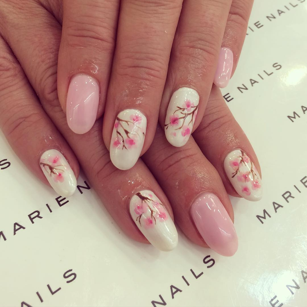 18 floral nail designs that will have you spring ready japanese cherry blossom nail designs for spring prinsesfo Gallery