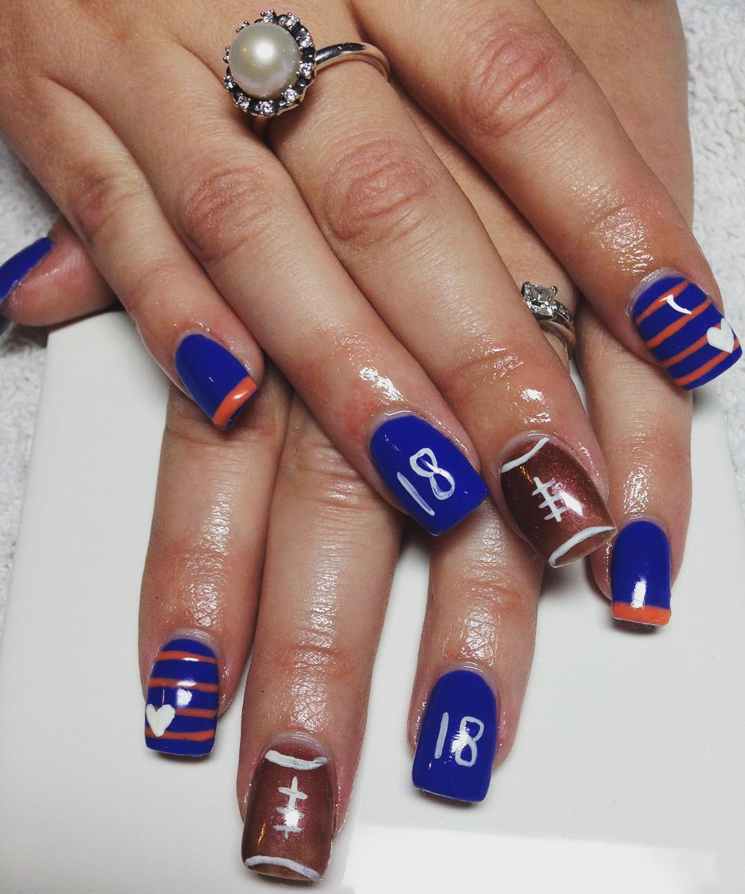 Blue Nails for Devner Broncos - 18 Best Nail Art Designs For Super Bowl 2016
