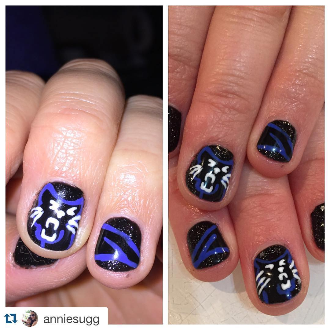 Nails for Carolina Panthers - 18 Best Nail Art Designs For Super Bowl 2016