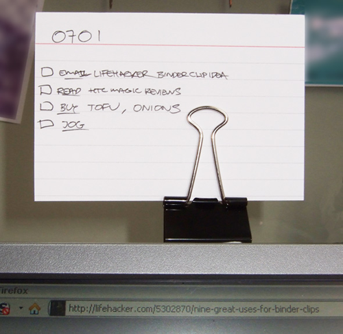 Use binder clips as a document holder
