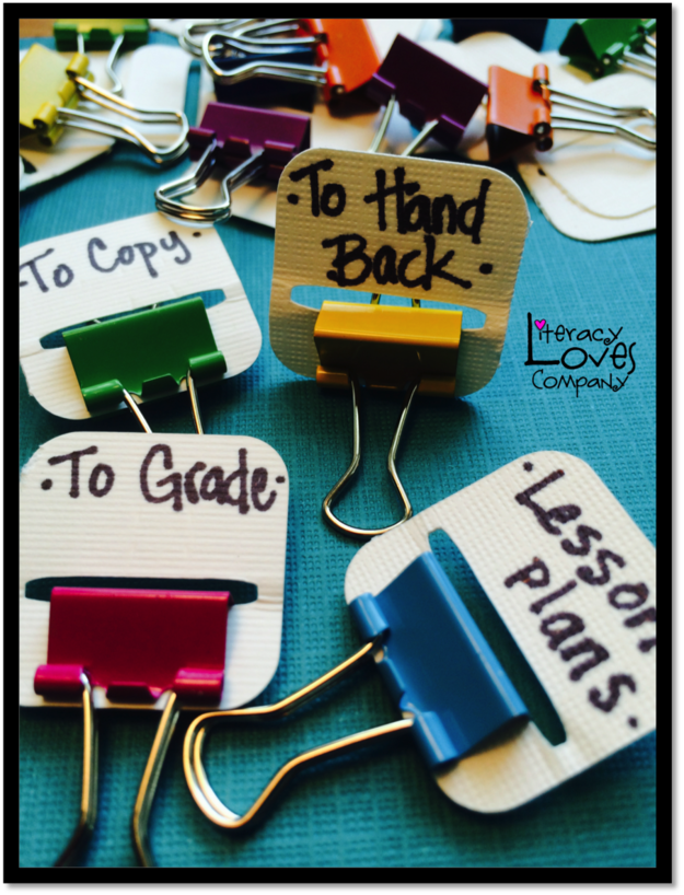 Use binder clips to organize paper work
