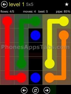 Flow Free App Cheats 5x5 level 1