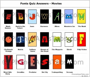 Font Quiz Answers Movies
