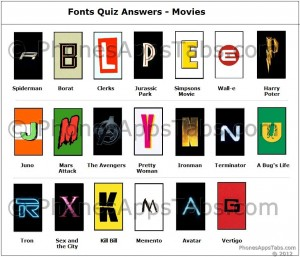 Font Quiz Answers Movies 1