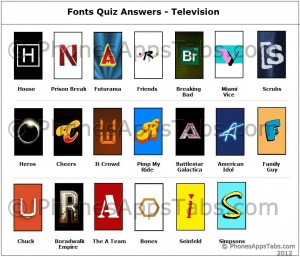 Fonts Quiz Answers TV