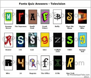 Fonts Quiz Answers TV 1