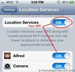 Turn Location Services OFF