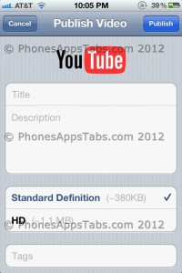 adding video to youtube using iPhone