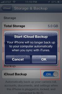 iCloud Backup ON