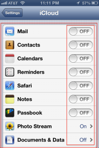 iCloud Backup Prefrences