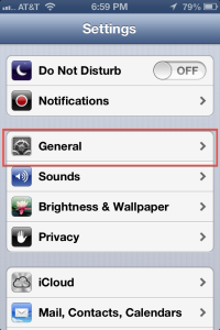 iPhone Settings Page