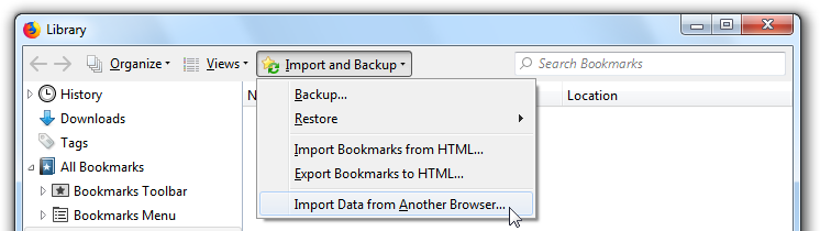 Import and Backup