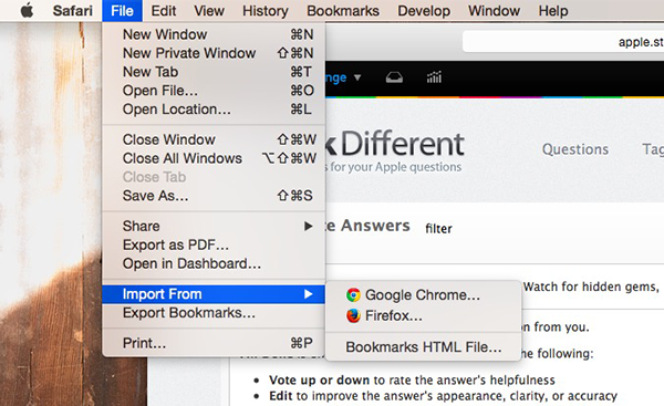 Import Bookmarks from Google Chrome