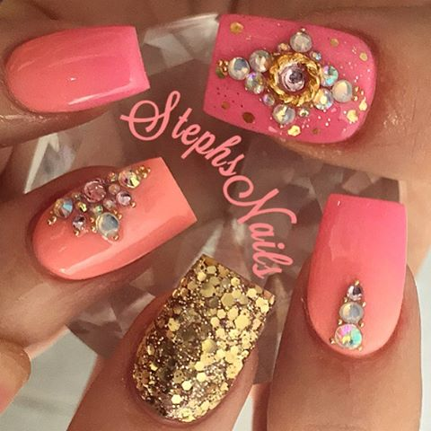 Coral Florals | Nail designs fro spring