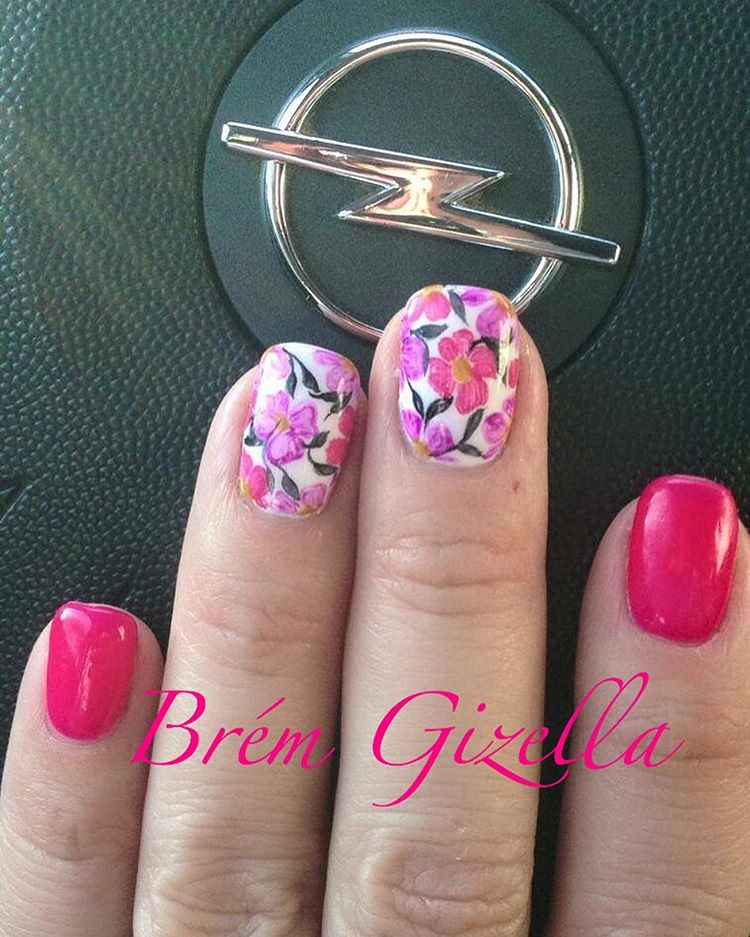 Pink for spring | Floral Nail designs for spring