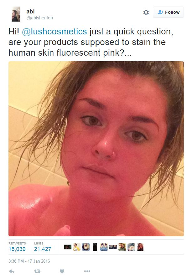 The Girl that Turned Pink after Using Lush Products