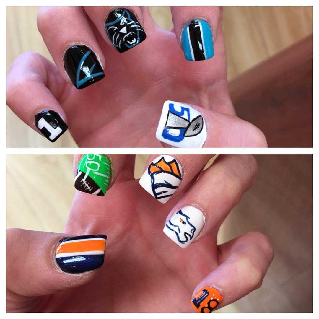 Carolina Panthers vs Denver Bronco nails