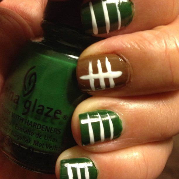 Green and Brown Football Nails