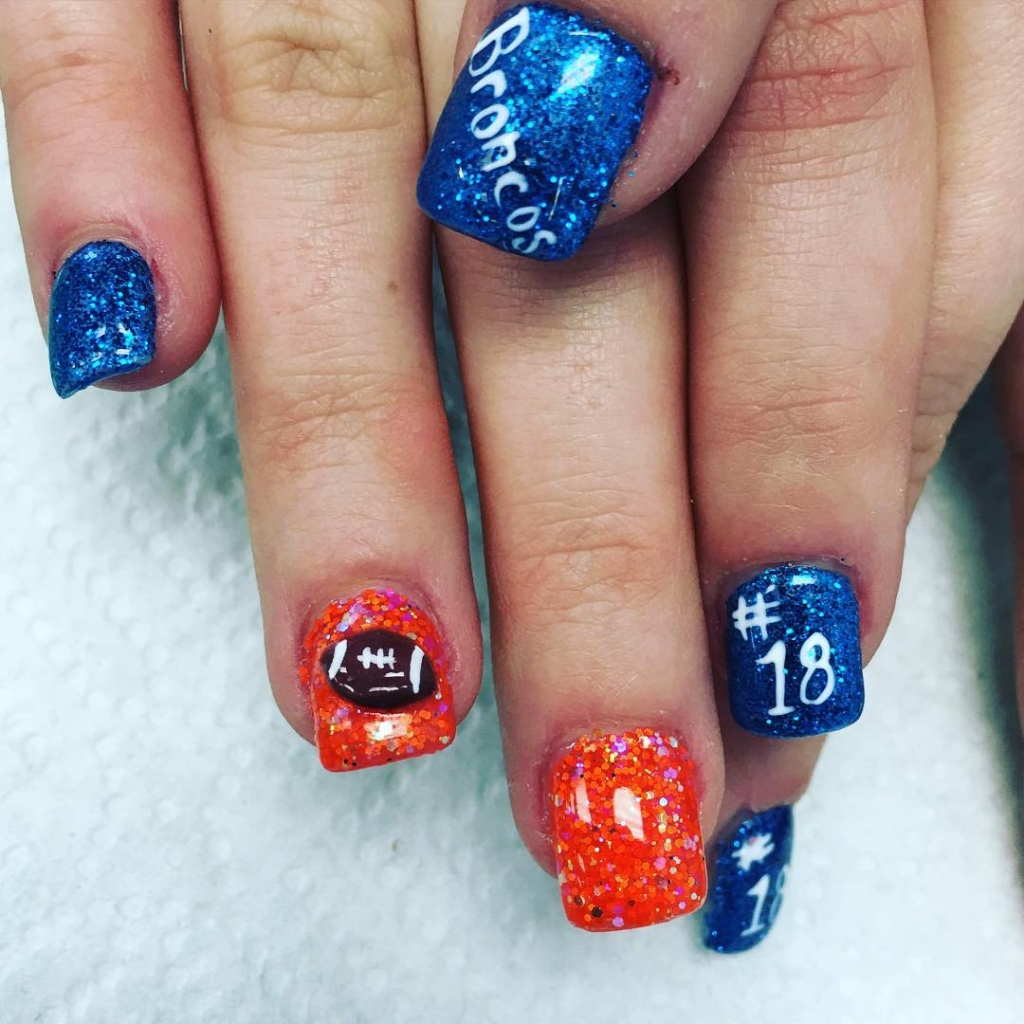 Super Bowl Nail Art Denver Broncos