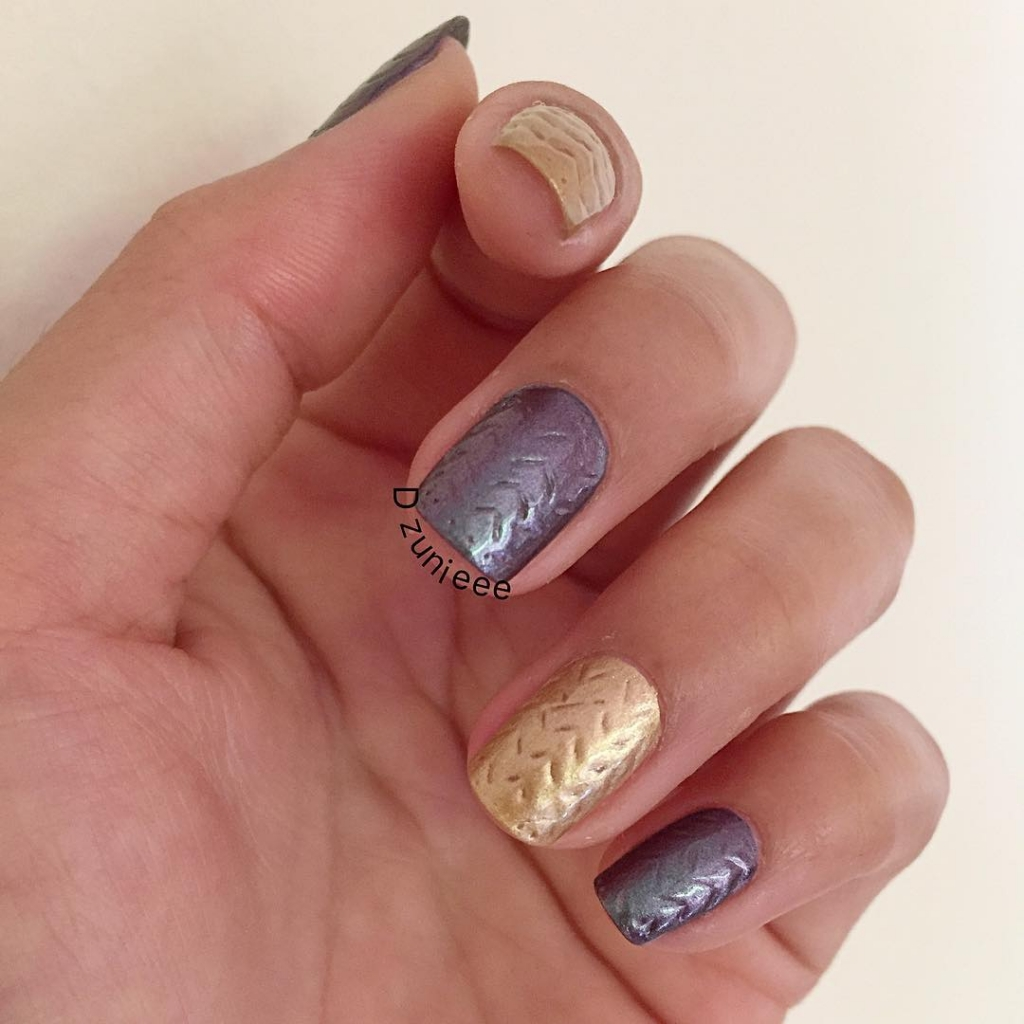 Metallic Chevron | Textured Nails For this Spring