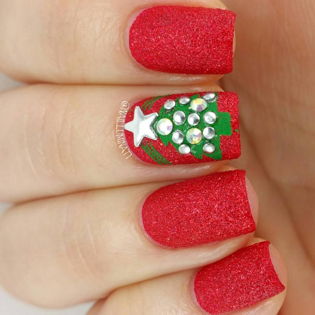 Christmas Tree | Textured Nails For Festive Season
