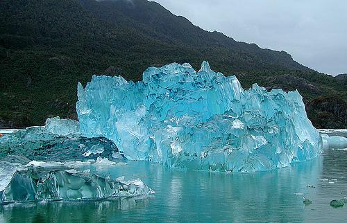 A stunning iceberg washed ashore on the coast of Alaska