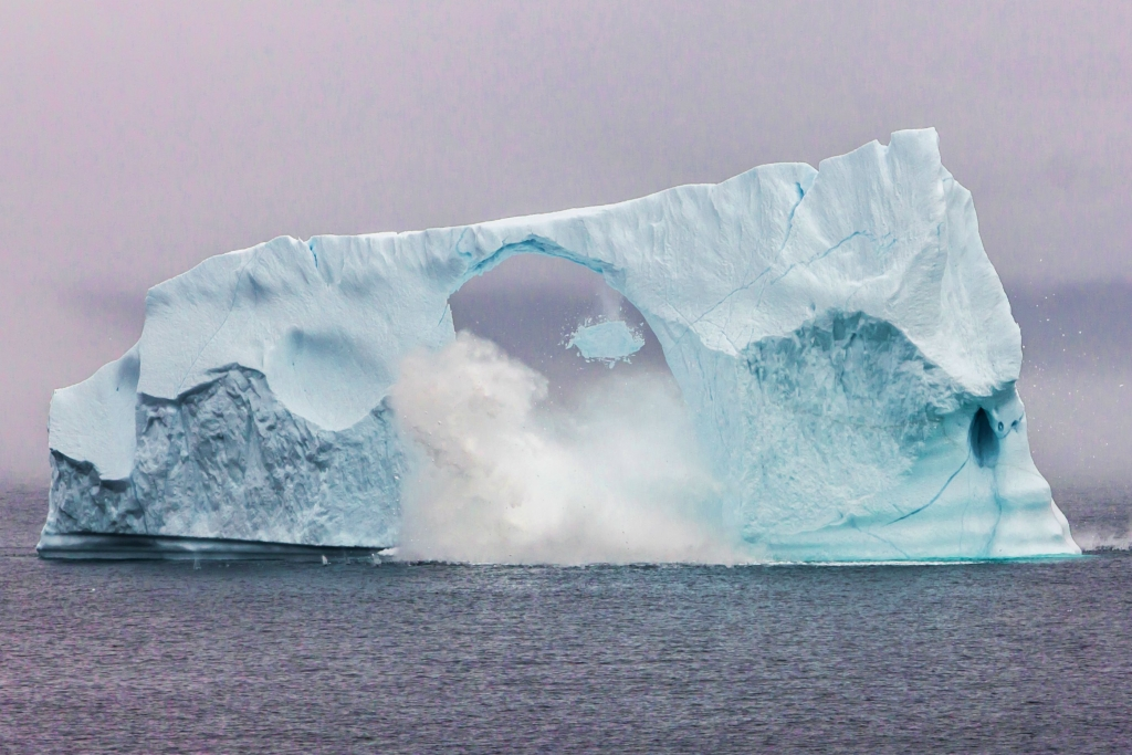 Iceberg breaking up in realtime this morning Cape Spear Newfoundland