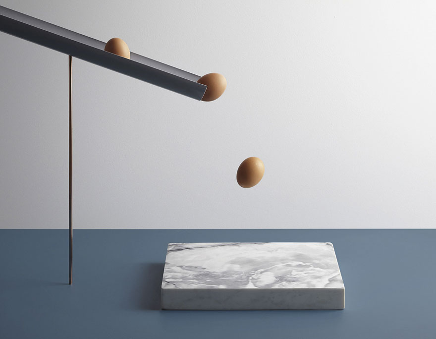 Three Eggs Making a Crash Landing on a marble Slab | In Anxious Anticipation Aaron Tilley