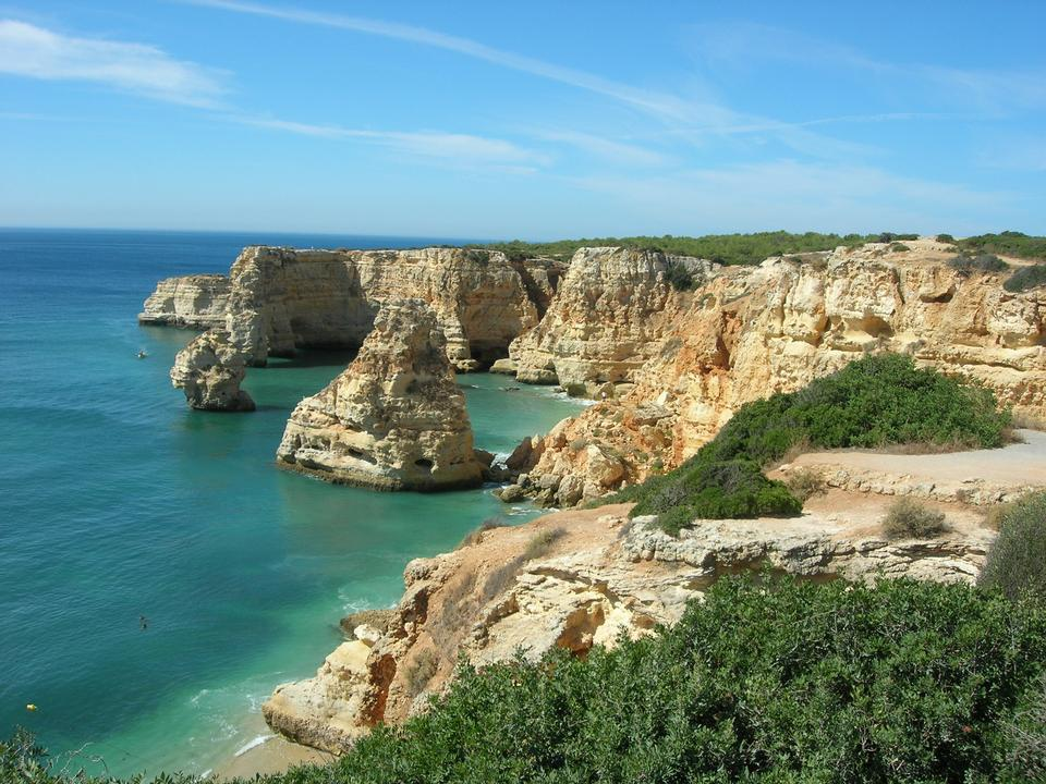 Marinha Beach, located on the Atlantic coast in Portugal