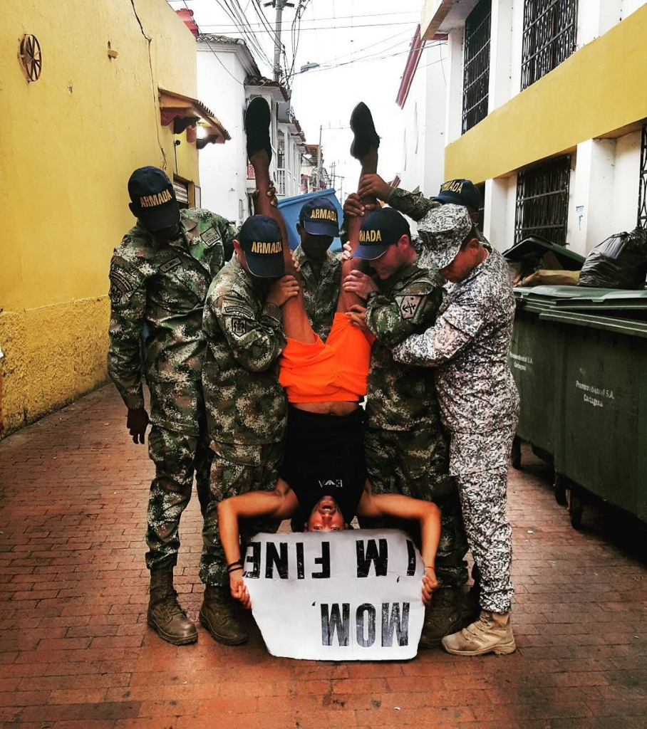 Guy Travels With Mom I Am Fine Sign With Colombian Army
