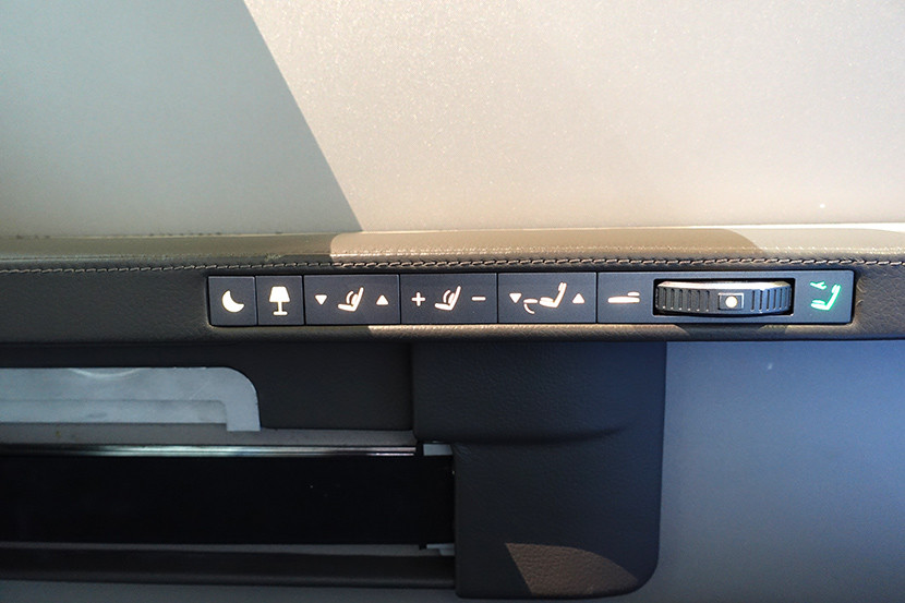 The updated seat controls